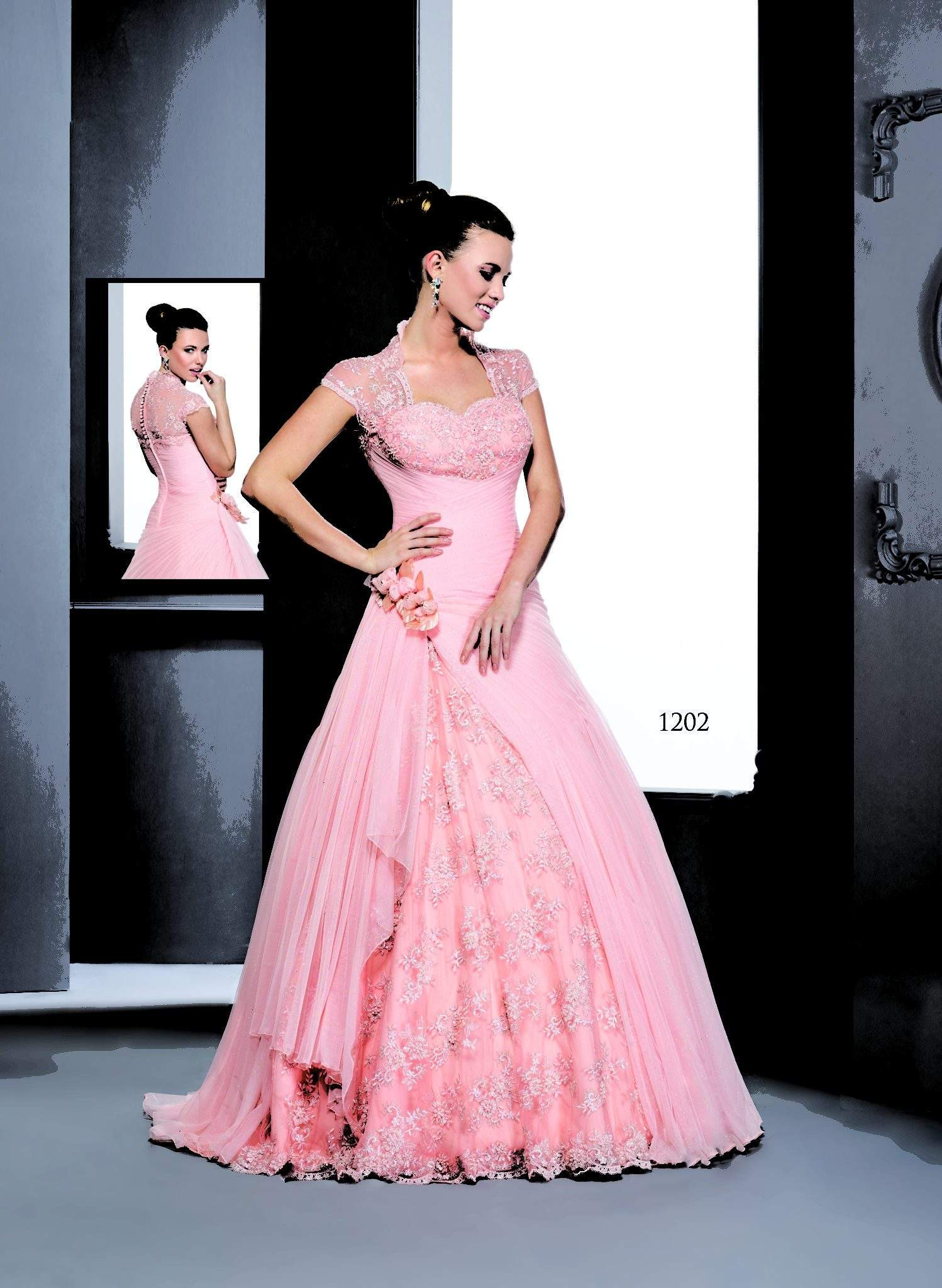 Pink Short Sleeve Ball Gowns - Darius Cordell Fashion Ltd