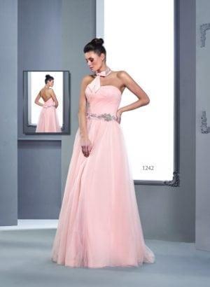 Rosa Halter Ballkleider mit Perlen Gürtel - Darius Cordell Fashion Ltd