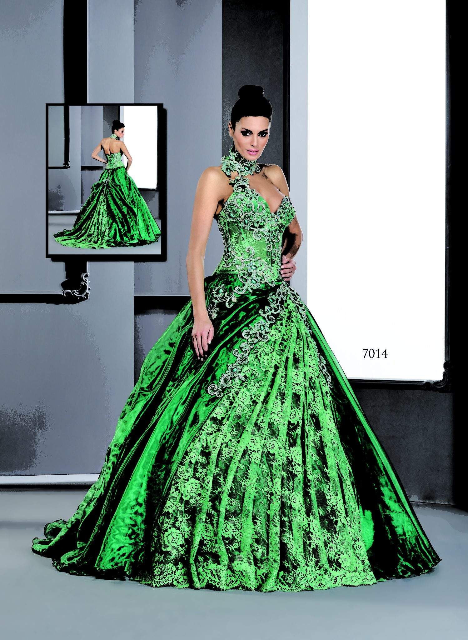 Green Ball Gowns w/ halter collar - Darius Cordell Fashion Ltd