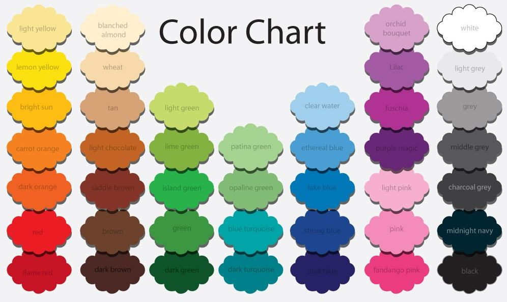 Color Chart For Dresses
