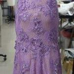 purple full worked evening gown