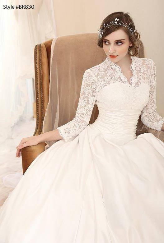 3/4 Long Sleeve Chantilly Lace Wedding Dresses by Darius