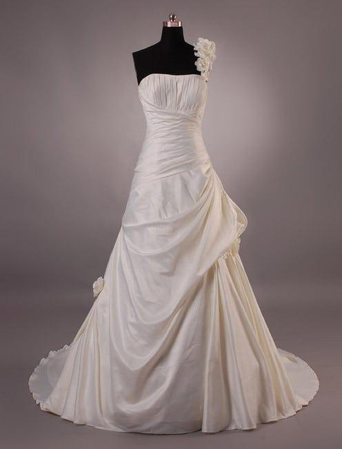 Satin bridal gowns w pick up skirt darius cordell for Pick up skirt wedding dresses