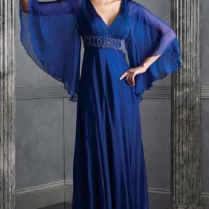 2014-D1551 Blue Chiffon Evening Gowns for Mother of The Bride