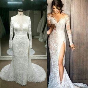 Replica of haute couture long sleeve wedding dress by Darius Cordell Bridal