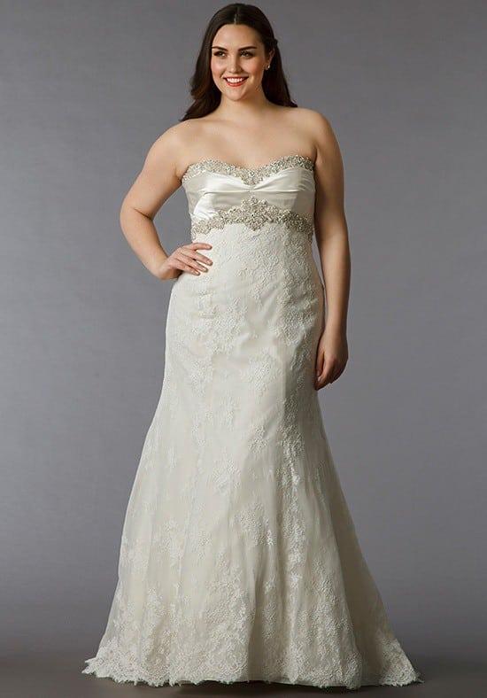 Empire Waist Lace Wedding Gowns for Plus size Brides