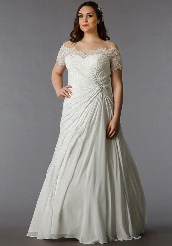 Short Sleeve Plus Size Wedding Gowns - Darius Cordell