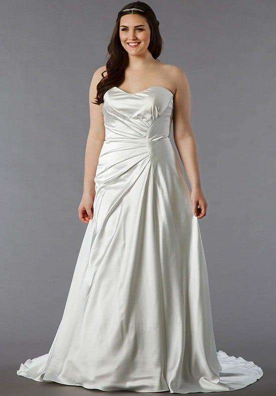 Plus size silk satin wedding dress darius cordell for Plus size silk wedding dresses