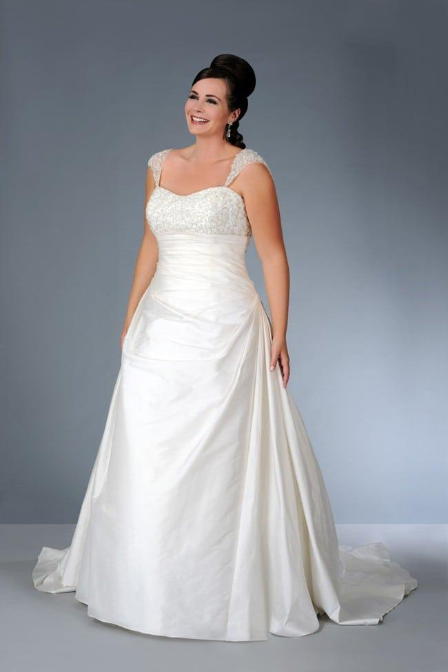 Plus size a line wedding gown with wide shoulder straps for Plus size wedding dresses with straps