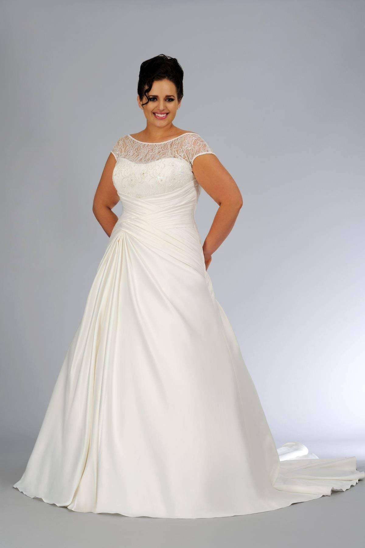 Plus size illusion neckline bridal gown for curvy bride for Plus size illusion wedding dress