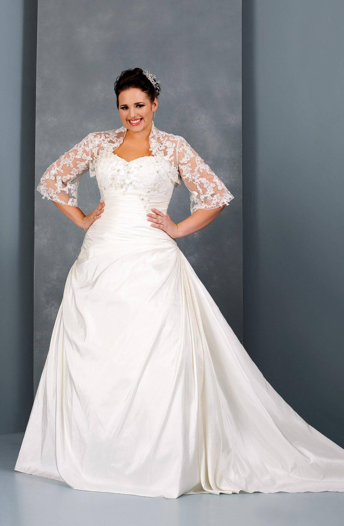 Long sleeve plus size wedding gown by darius bridal for Long sleeve plus size wedding dress