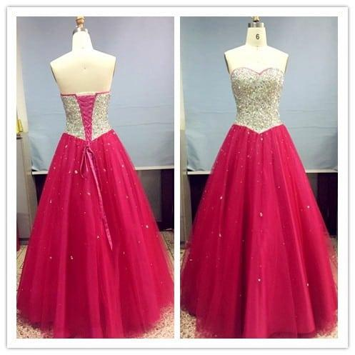 Pink Cinderella Beaded Gown - Strapless Formal Ball Gowns