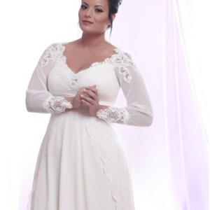Darius Cordell Long Sleeve Plus Size Wedding Dresses With Lace And Pearls
