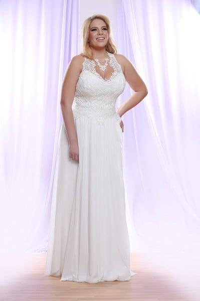 Halter Plus Size Wedding Dress with Pearl beaded Lace