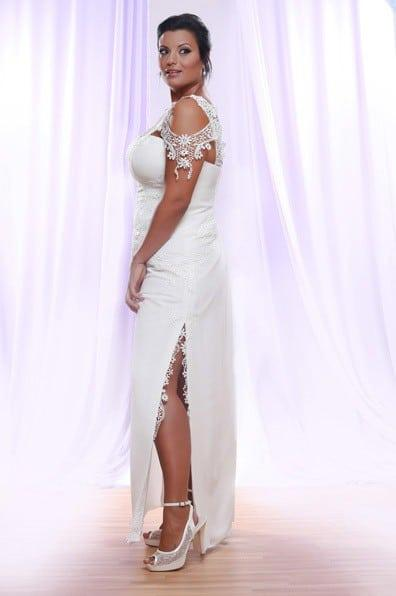 Flügelärmeln Spitze Plus Size Hochzeitskleid - Darius Designs