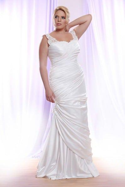 Style PS1413 Darius Cordell Ruched Plus Size Wedding Dress With Lace Strap