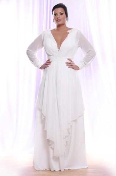 Style ps1416 sheer chiffon long sleeve wedding dress for Long sleeve chiffon wedding dress