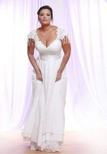 Cap Sleeve Plus Size Wedding Dress with beaded Lace Silk Tulle Skirt at Darius Cordell