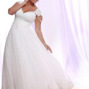 Style #PS1417 - 2150 - Darius Cordell Silk Tulle Plus Size Wedding Dress with Cap Sleeves