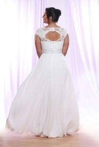 back of Silk Tulle Plus Size Wedding Dress with Cap Sleeves