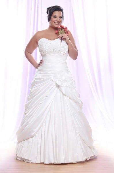 Strapless Plus Size Wedding Dress With Gathers And Pick Ups