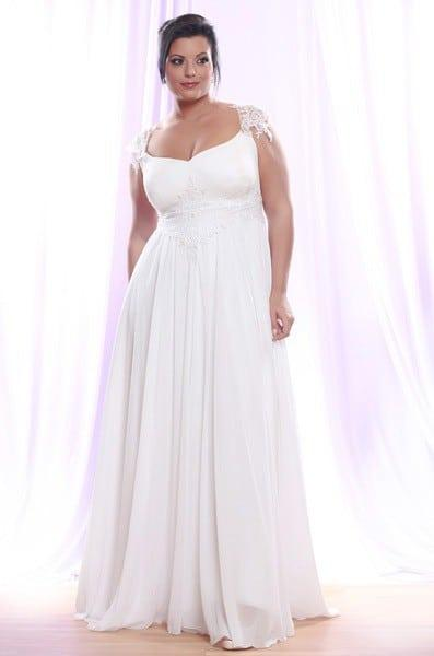 Empire Waist Plus Size Bridal Gown w/ Pearl Lace Cap Sleeves