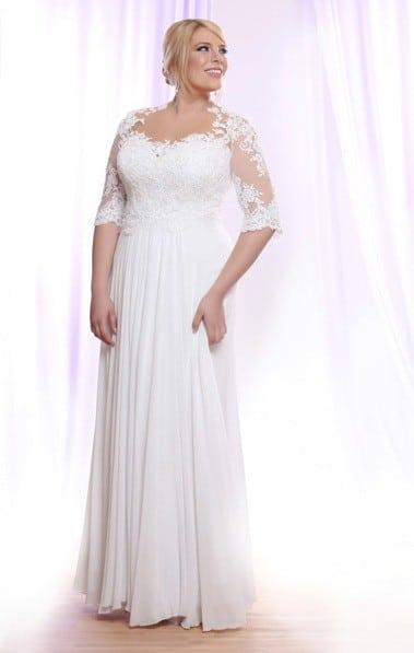 Plus Size Bridal Gown w/ Long Beaded Lace Sleeves on Illusion Fabric
