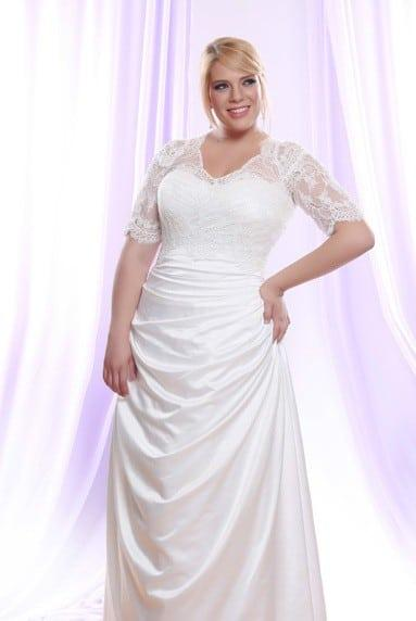 Silk Satin Plus Size Wedding Dress w/ Long Sheer Illusion Lace Sleeve