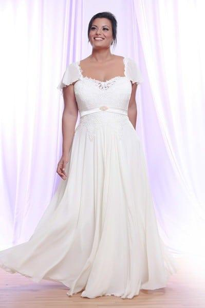 Plus Size Bridal Gown With Short Flutter Sleeves And Empire Waist