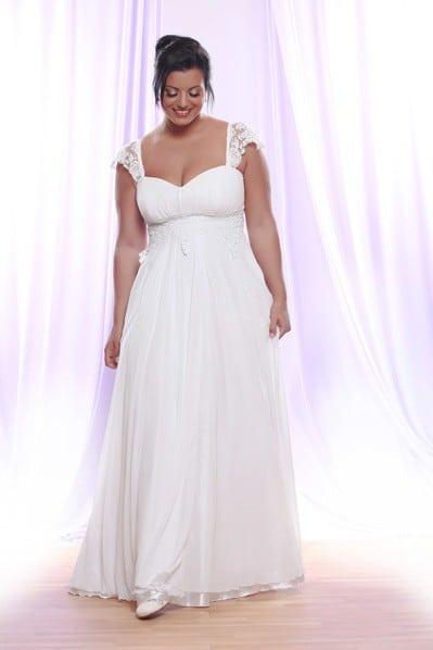 Empire waist bridal gown for plus size brides w cap sleeve for Empire waist plus size wedding dress