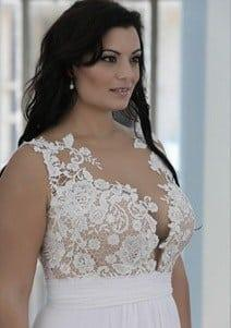 style ps1429 1650 sleeveless crochet lace plus size wedding dresses with empire waist