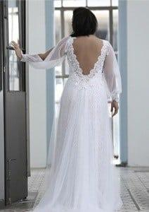 back of Loose Long Bishop Sleeve Plus Size Wedding Dress by Darius Cordell