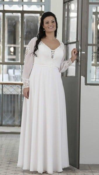 Sheer sleeve bridal gowns darius cordell fashion ltd for Long sleeve plus size wedding dress