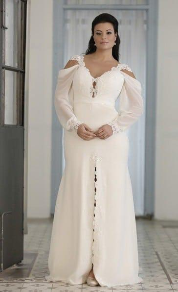 Bishop Sleeve Plus Size Wedding Gown - Darius Cordell Couture
