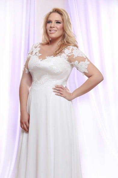 Plus size wedding dress with pearl beaded lace for Plus size illusion wedding dress