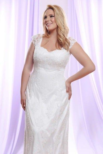 Plus Size Wedding Dress with Sheer Lace Shoulder Straps