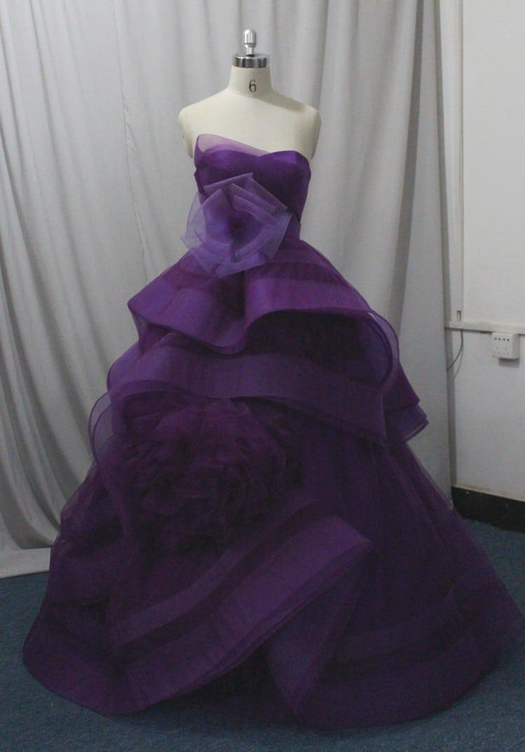 Strapless Purple Ball Gowns with Tiered skirt - Darius Designs