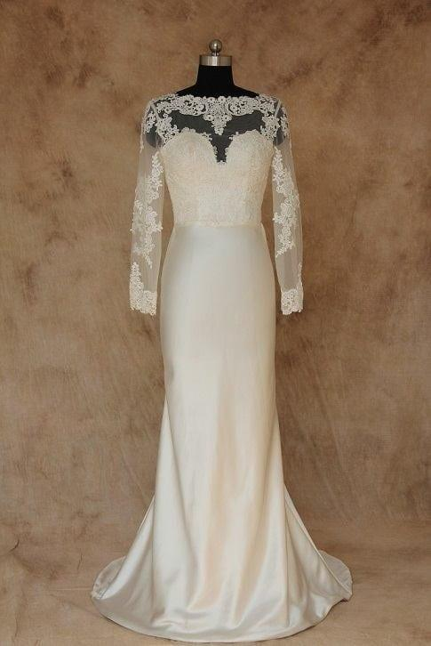 Illusion neckline wedding dress with long sleeves for Wedding dresses with illusion neckline and sleeves