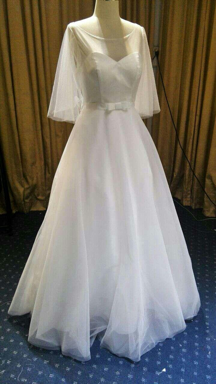 Long flutter sleeve wedding gown with a line skirt by for A line skirt wedding dress