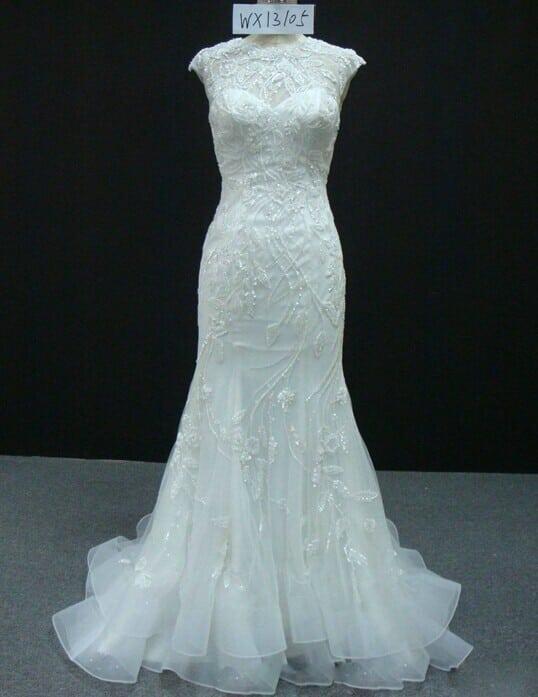 Beaded Cap Sleeve Wedding Dress With Illusion Neckline