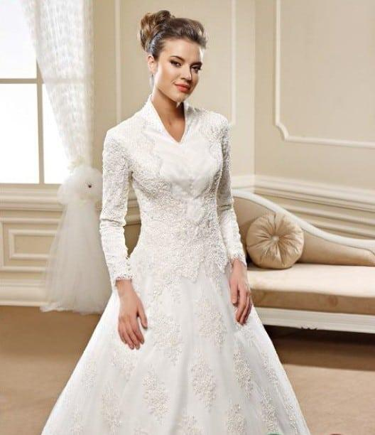 Modest Church Wedding Dresses with long sleeves