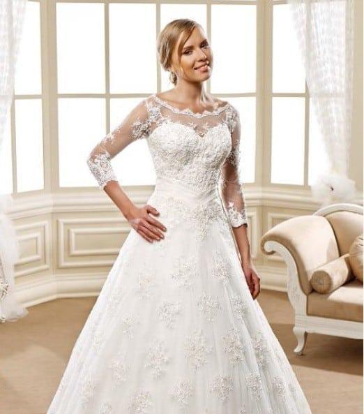 Three quarter length sleeve aline wedding gown for Wedding dresses with three quarter length sleeves