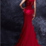 royal back embroided red gown