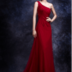 Red Evening Dresses with One shoulder neckline