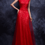 red scoop neck evening dresses