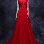 red lace evening gowns with a line cut