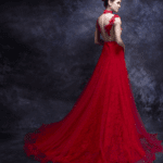 backless gown in red