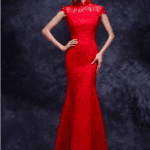 short sleeve red lace formal dresses