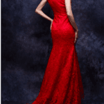 closed back evening dress in red