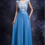 Blue cap sleeve formal dresses